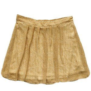 Old Navy Yellow & White Pleated Flowy Mini Skirt